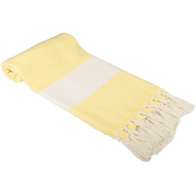 Zigzag Pattern Turkish 100% Cotton Beach Towel Color: Bright Yellow