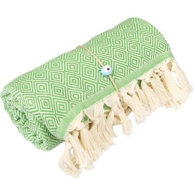 Longford Diamond 100% Cotton Beach Towel Color: Green