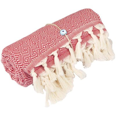 Longford Diamond 100% Cotton Beach Towel Color: Red