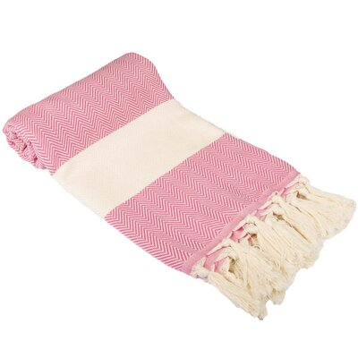 Zigzag Pattern Turkish 100% Cotton Beach Towel Color: Pink