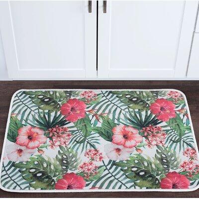 Platres Hibiscus Foam Core Bath Rug Size: 24 W x 36 L