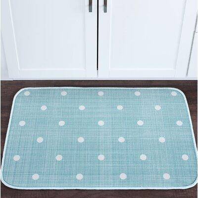 Knepp Polka Dots Seafoam Foam Core Bath Rug Size: 20 W x 30 L