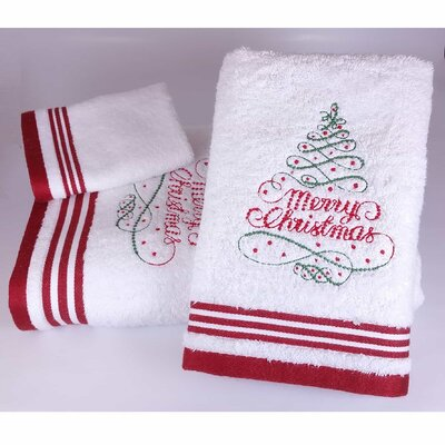 Brough Merry Christmas Tree Embroidered 3 Piece Towel Set Color: White