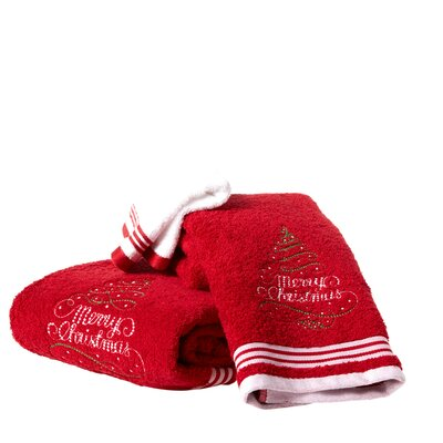 Brough Merry Christmas Tree Embroidered 3 Piece Towel Set Color: Red