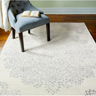 Vanna Hand-Woven Wool Ivory/Gray Area Rug Rug Size: Rectangle 5 x 76