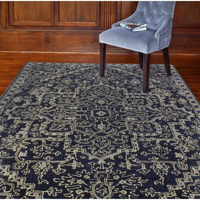 Eloy Art Silk Hand-Woven Wool Navy Area Rug Rug Size: Rectangle 79 x 99