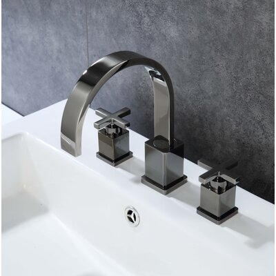 Widespread Double Handle Bathroom Faucet with Drain Assembly Finish: Glossy Black