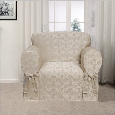 Box Cushion Armchair Slipcover Upholstery: Gold