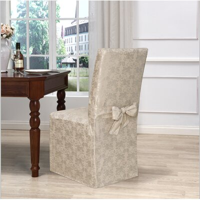 Box Cushion Dining Chair Slipcover Upholstery: Gold