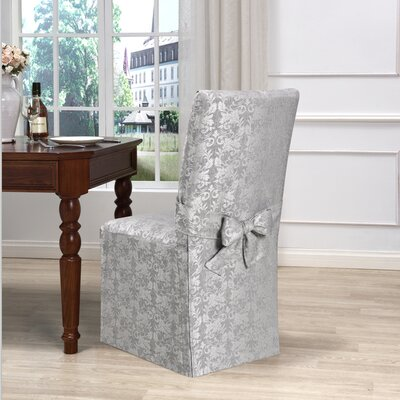 Box Cushion Dining Chair Slipcover Upholstery: Gray