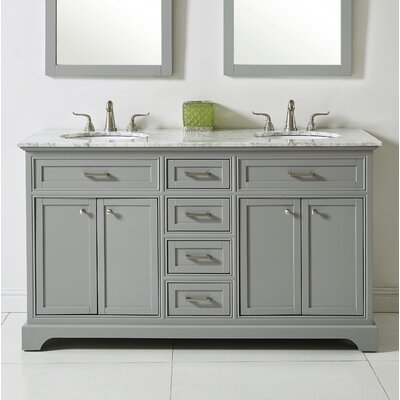 Darry 60 Double Bathroom Vanity Set Base Finish: Light Gray