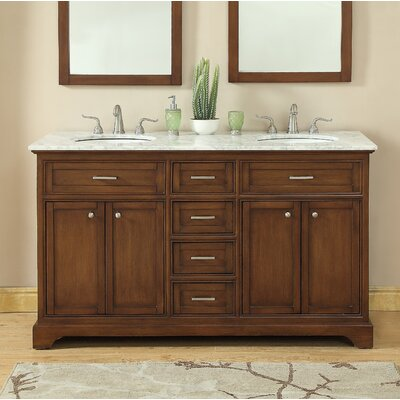 Darry 60 Double Bathroom Vanity Set Base Finish: Teak