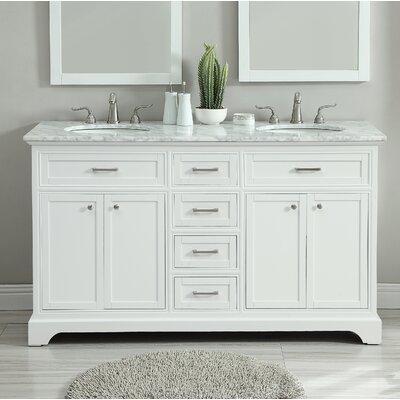 Darry 60 Double Bathroom Vanity Set Base Finish: White