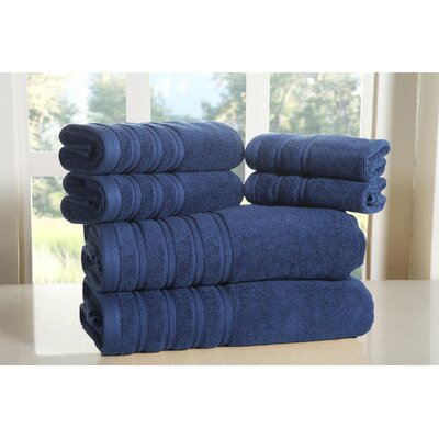 Cora 100% Ringspun Cotton Towel Set Color: Navy