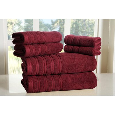 Cora 100% Ringspun Cotton Towel Set Color: Burgundy