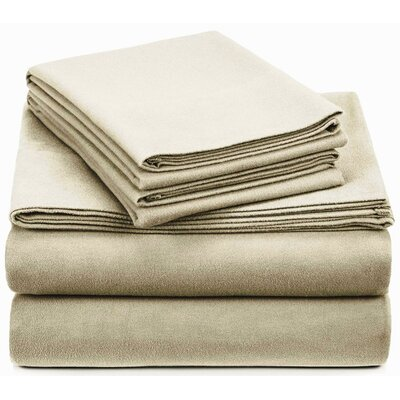 Crossen 100% Cotton Sheet Set Size: Full/Double, Color: Beige