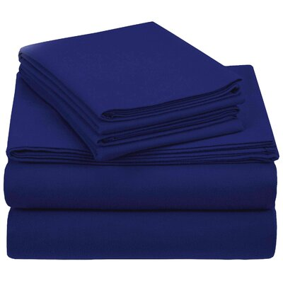 Crossen 100% Cotton Sheet Set Size: Full/Double, Color: Navy Blue