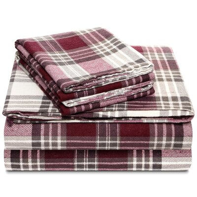 Nempnett Thrubwell Fancy Flannel 4 Piec 100% Cotton Sheet Set Size: Queen