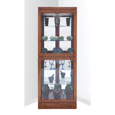 Wembley Lighted Corner Curio Cabinet Color: Old Oak