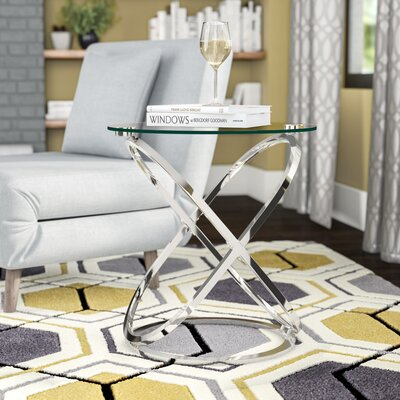 Jerrell Glass and Metal End Table Color: Chrome