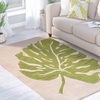 Deadra Floral Hand-Tufted Beige/Green Area Rug Rug Size: 9 x 12