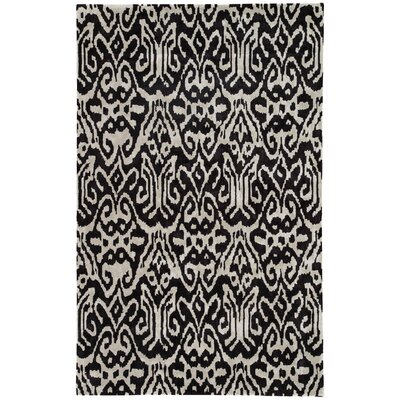 Machine-Woven Black/White Area Rug Rug Size: Rectangle 8 x 10