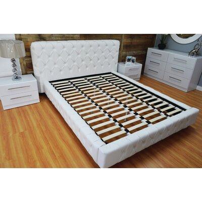 Haskett Button Tufted Upholstered Platform Bed Size: King