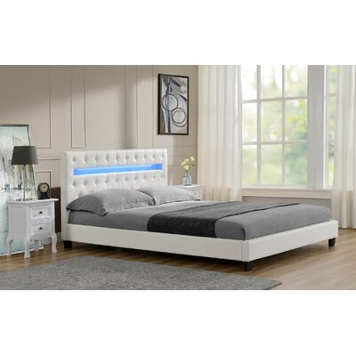 Westlake Button Tufted Upholstered Panel Bed Headboard Color: White, Size: Queen