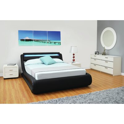 Haskett Serpentine Storage Platform Bed Color: Black, Size: King