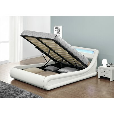 Haskett Serpentine Storage Platform Bed Color: White, Size: Queen