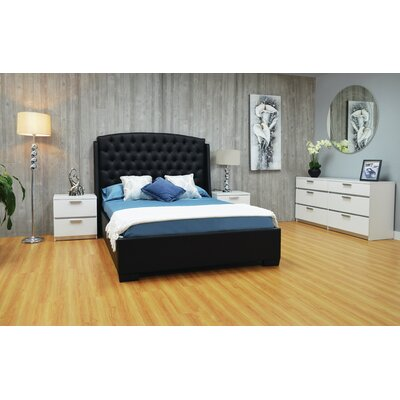 Haskett Upholstered Platform Bed Color: Black, Size: Queen