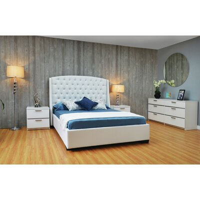 Haskett Upholstered Platform Bed Color: White, Size: Queen