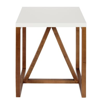 Dunstan Square End Table Color: White/Walnut Brown