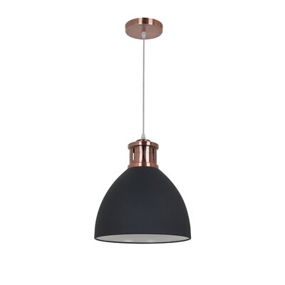 Pillar 1-Light Inverted Pendant Shade Color: Black