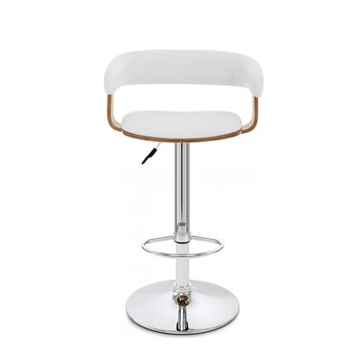 Bryson Adustable Height Swivel Bar Stool Color: White