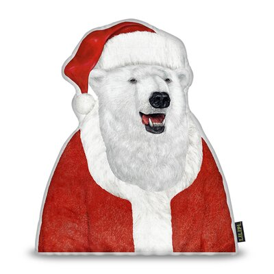 Polar Bear Santa Throw Pillow