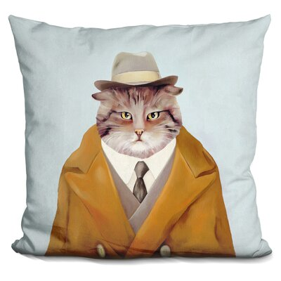 Detective Cat Throw Pillow