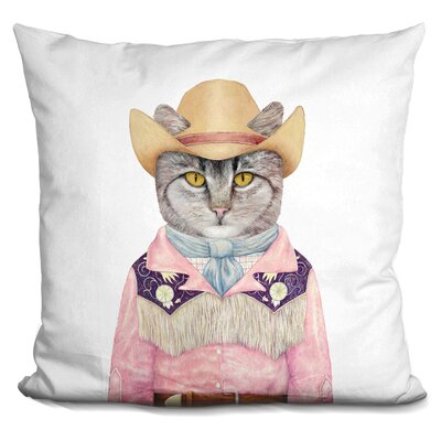 Hibner Cowboy Cat Throw Pillow