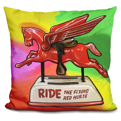 Flying Horse Ride Throw Pillow