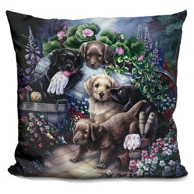 Gardening Puppies Throw Pillow