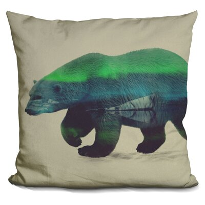 Polar Bear in Northern Lights Throw Pillow