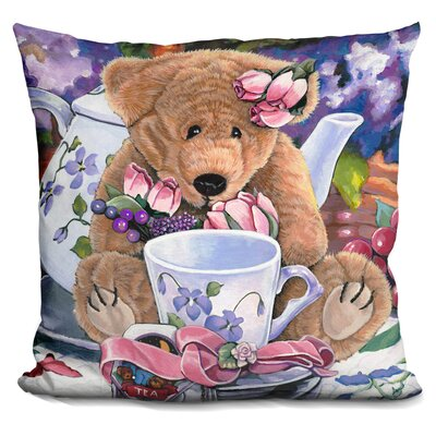 Tea Party Bear Throw Pillow