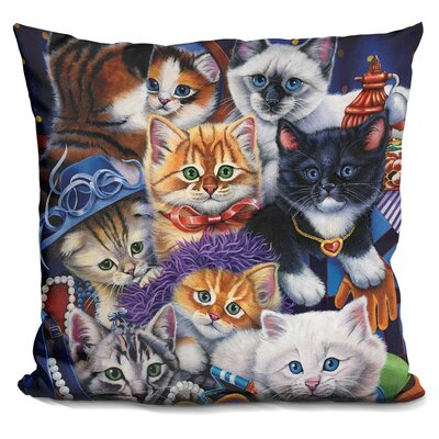Kittens in Closet Throw Pillow