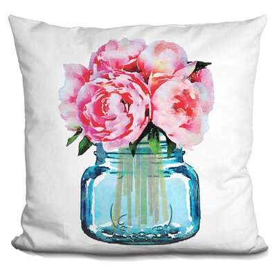 Ishaan Mason Jar Peonies Throw Pillow