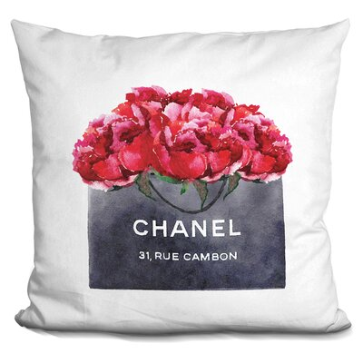 Isley Shopping Bag Dark Peonies Throw Pillow