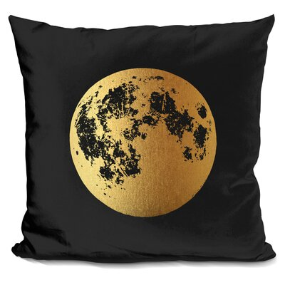 Moon Throw Pillow Color: Black/Gold
