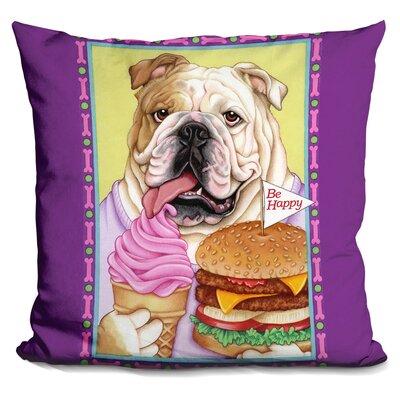 Bulldog Hamburger Throw Pillow