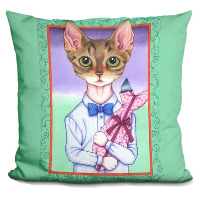 Fish Cat Throw Pillow
