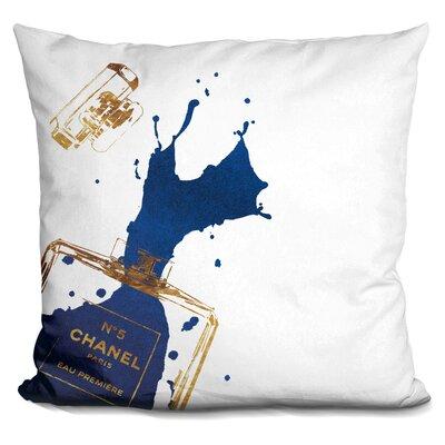 Melia Perfume Splash Throw Pillow Color: Gold Navy
