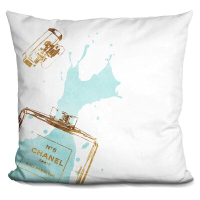 Melia Perfume Splash Throw Pillow Color: Gold Teal